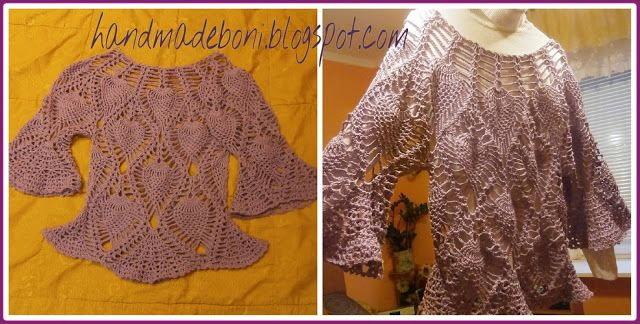 HandmadeBoni: Szydełkowa liliowa bluzka. Opis krok po kroku.Częś...