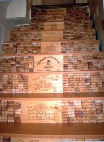 Wine Themed Staircase. Save your corks, and visit www.winepine.com for the wine crate panels