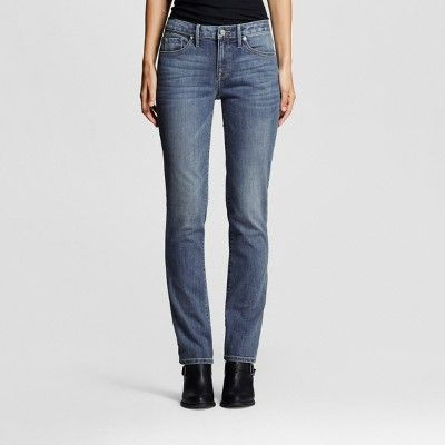 Women's Mid-rise Straight Leg Jeans (Curvy Fit) - Mossimo Medium Wash 18 Short