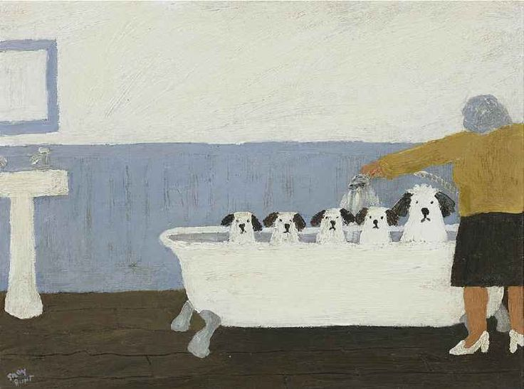 Gary Bunt | Bath Night - We really don't Like bath night We get wet and soggy fur So when we get out We'll get her back And shake all over her