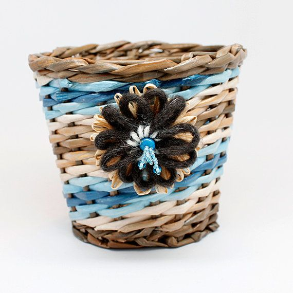 Handwoven basket tan brown blue with flower by PurpleDotBoutique. Available to buy on Etsy.