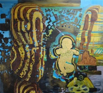 "Jimmy James Kouratoras, ""Ruaumoko Dream"" | Mixed Media on Paper | $4,480 | Source: http://www.art-mine.com/artistpage/jimmy_james_kouratoras.aspx | Agora Gallery | Contemporary Fine Art | NYC, NY."