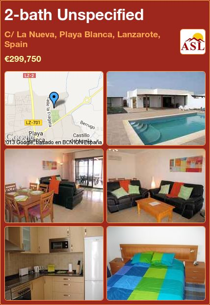 2-bath Unspecified in C/ La Nueva, Playa Blanca, Lanzarote, Spain ►€299,750 #PropertyForSaleInSpain