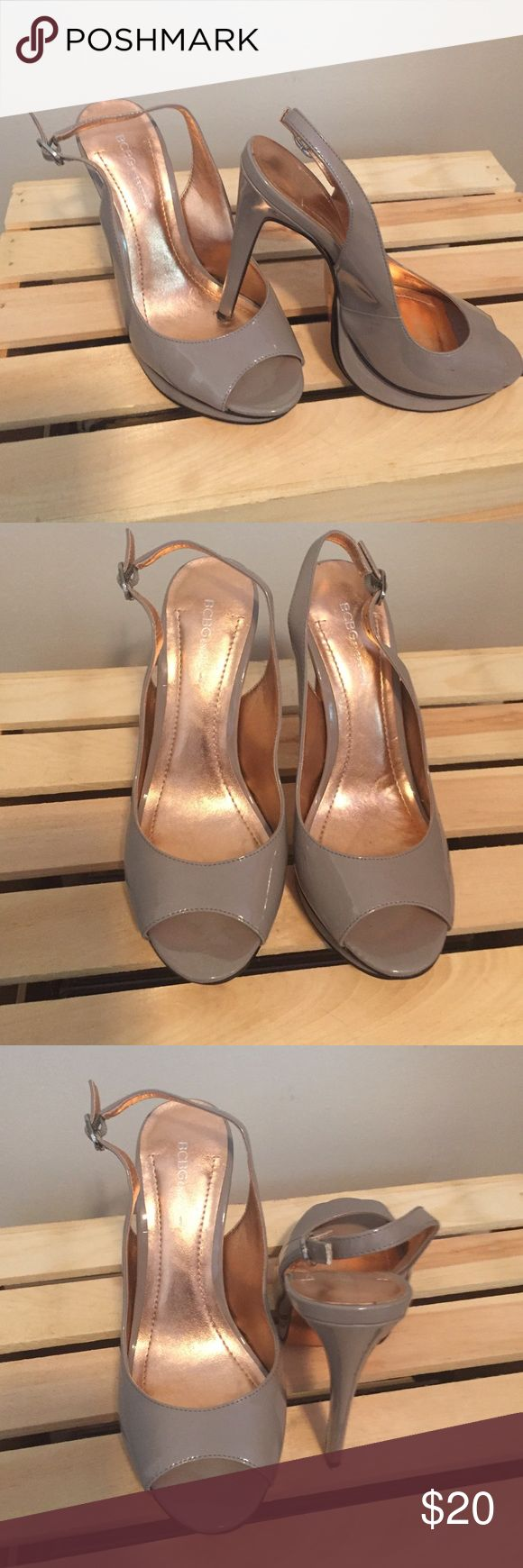 BCBG GENERATION slingback sandal BCBG GENERATION taupe patent slingback sandal. Color is beautiful and very versatile. 5 inch heel with slight platform sole. Great condition. BCBGeneration Shoes Sandals