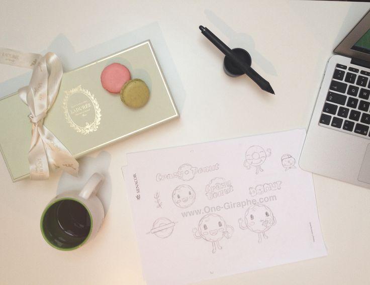 www.One-Giraphe.com #wip #laduree #donut #sketch #logo #logodesign #macarons #paris #luxury #character #illustration #graphic #design #graphicdesign #brandidentity #scene #desk #designer