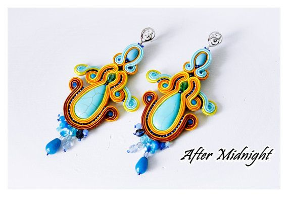 Soutache Earrings, kolczyki sutasz, soutache jewelry,turquoise