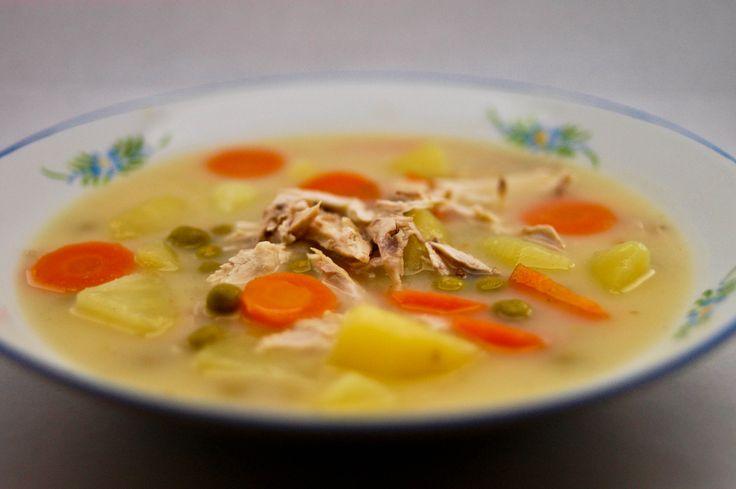 soup - chicken/potato/carrot/peas