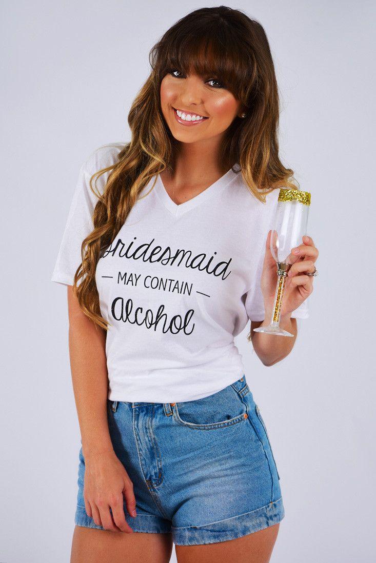 PREORDER: Bridesmaid May Contain Alcohol Top: White/Black #shophopes