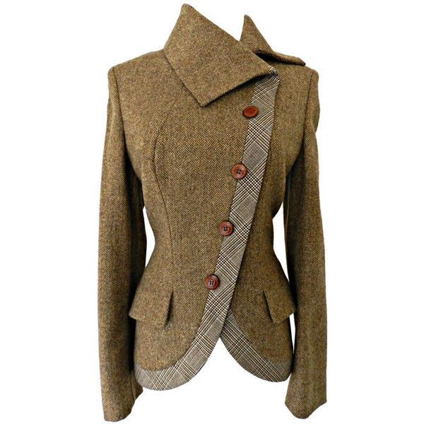 Alexander McQueen Alexander McQueen Brown Wool Riding Jacket found on Polyvore
