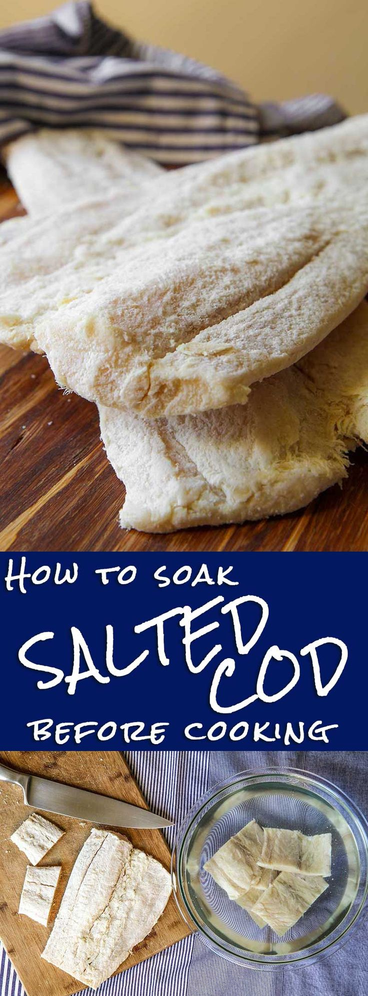 How to prepare salted cod - The salted cod is a specialty very popular on the tables of Potogallo, Spain and Italy. Bacalhau, or Baccalà, or Bacalao… whathever you call the salted cod, it is a true delight to enjoy all year long. To prepare a delicious dish with salted cod is indispensable follow properly the procedure to remove the salt. Below I explain a foolproof method to obtain a salted cod ready to cook! - Italian recipe Venetian recipes pescetarian feast healthy fish dinner gluten…