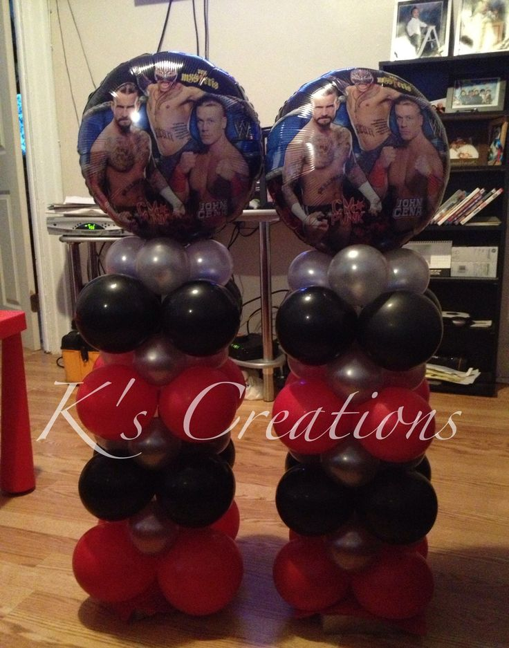 Wwe balloons, wwe birthday party, and wwe decorations.