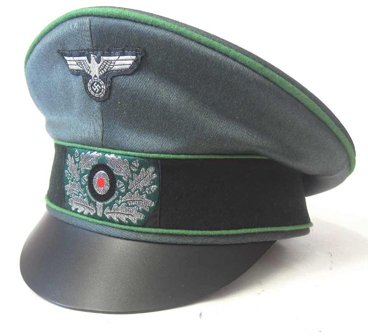 German Army Panzergrenadier Officers Crusher Cap.          This is a reproduction, brand new, Schirmmützen cap for a Panzergrenadier Officer. The maker is EREL and has two makers marks, one in the crown and one on the leather sweat band. This cap is brand new and ready for reenactment wear or display.                www.warhats.com #warhats