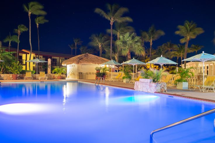 Pool area by night.