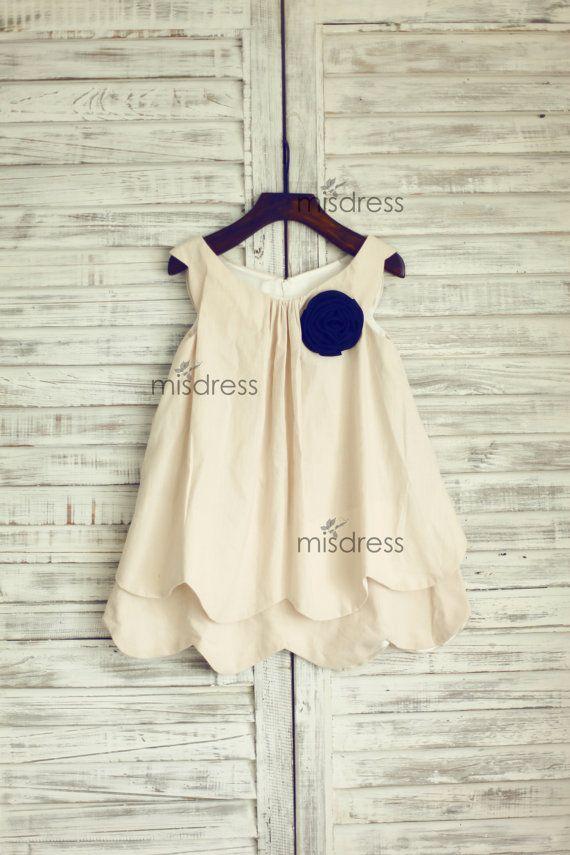 Vintage Retro Linen Flower Girl Dress/Navy Blue Flower by misdress