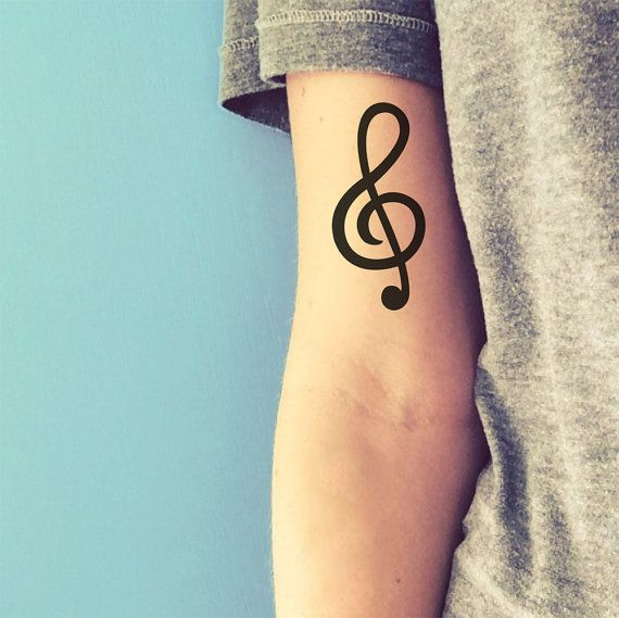 treble clef tattoo / musical temporary tattoo (happytatts)