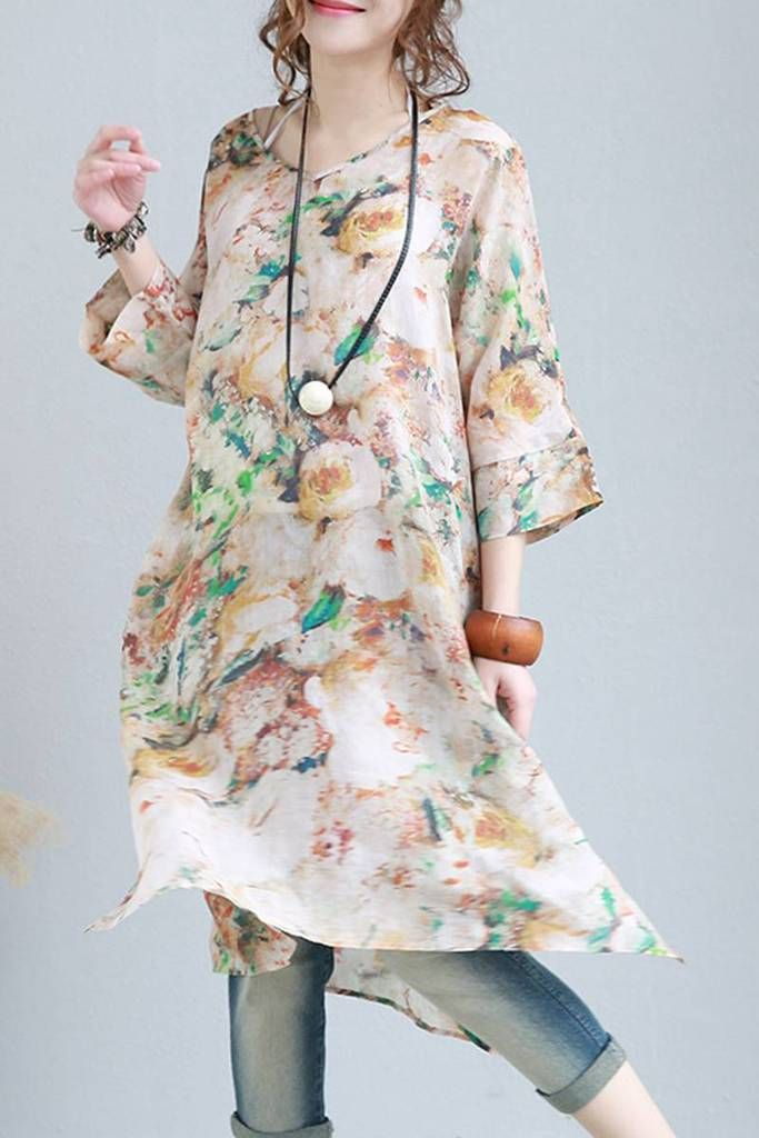 7f794ef00227 Summer Women V Neck Casual Floral Linen Dress Long Clothes 0096 ...