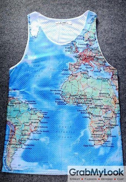 GrabMyLook Blue Universe Globe Map Net Sleeveless Mens T shirt Vest Sports Tank Top