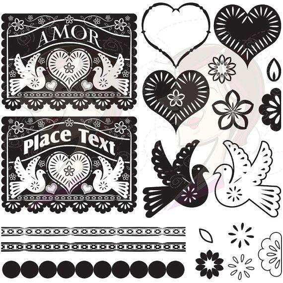 Papel Picado Digital Clip Art Banner Love Hearts Bird Floral Flowers Scalloped Lace Borders Design Elements Vintage Black DIY Wedding 10219 on Etsy, $6.70