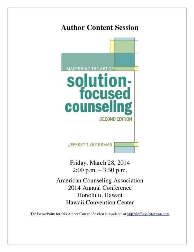 Mastering the Art of Solution-Focused Counseling (Handouts)