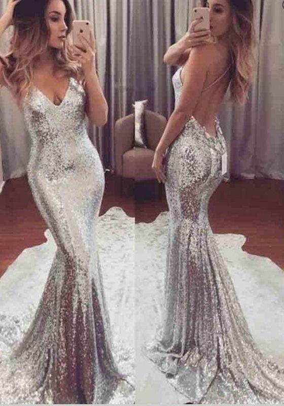 7387c834006 Silver Sequin Mermaid Spaghetti Strap Backless Deep V-neck Elegant Prom  Party Maxi Dress