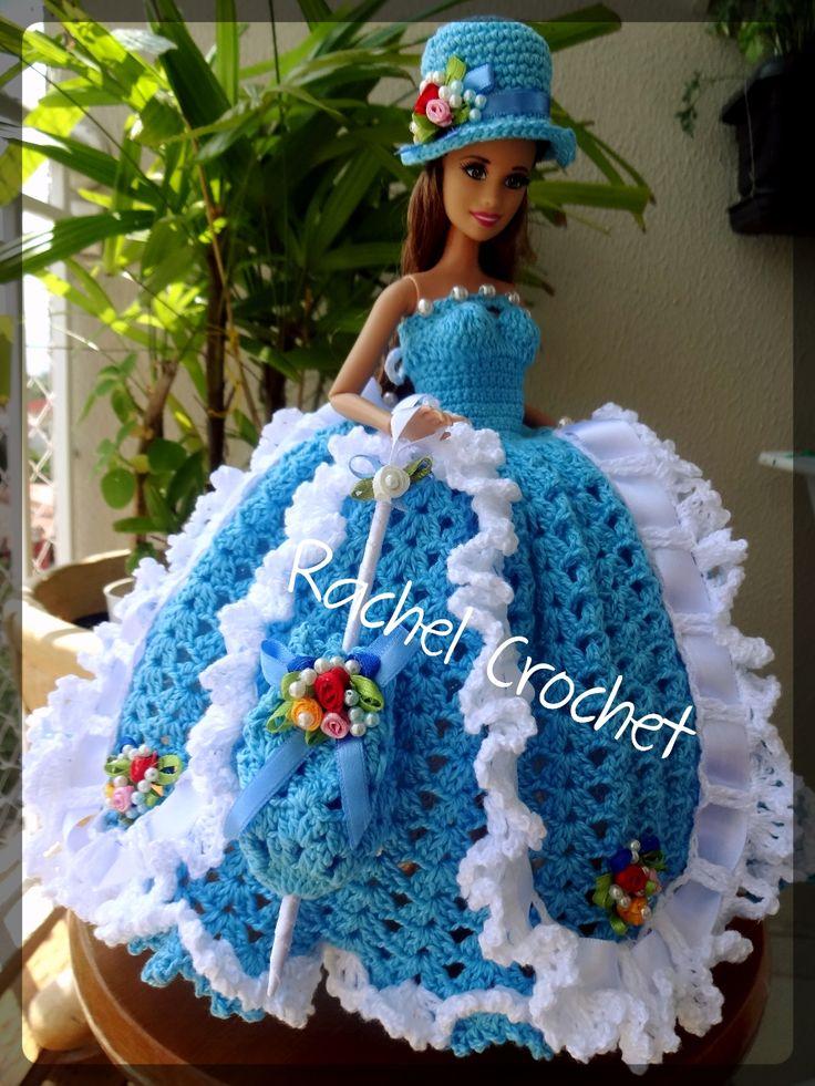 #Anne #Cléa5 #Festa #Party #Roupa #Doll #Crochet #Vestido #Dress #Barbie #Chapéu #Muñeca #RaquelGaucha
