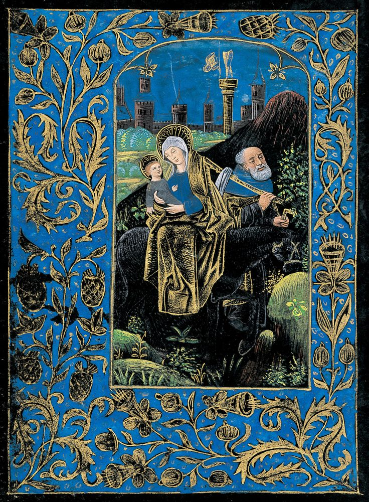 Christ: Flight into Egypt, Fall of Idols   Book of hours (Black Hours)   Belgium, Bruges   ca. 1480   The Morgan Library & Museum