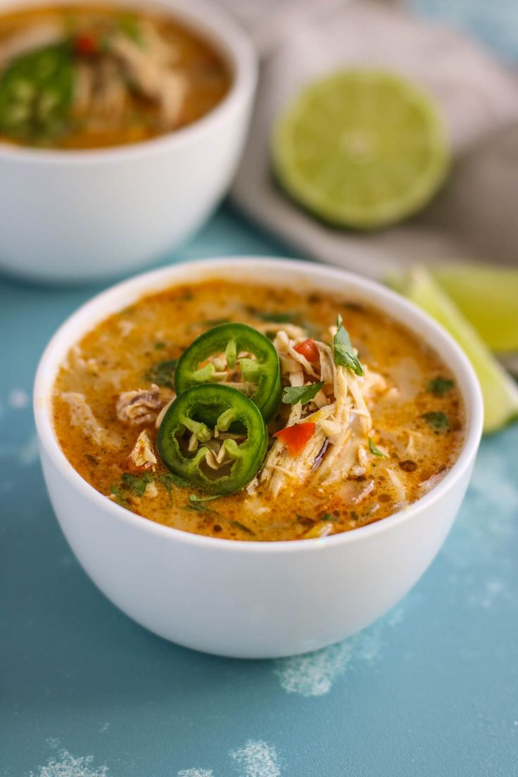 Slow Cooker White Chicken Chili - Whole30 | The Real Food Dietitians | http://therealfoodrds.com/slow-cooker-white-chicken-chili/