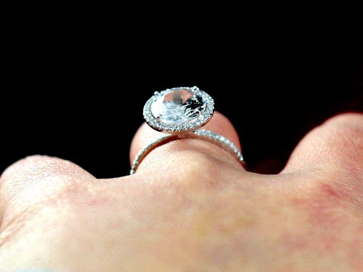 White Topaz Engagement Ring Pricus 3ct 9mm & Diamonds Halo Custom Size White-Yellow-Rose Gold-10k-14k-18k-Platinum by BellAmoreDesign on Etsy