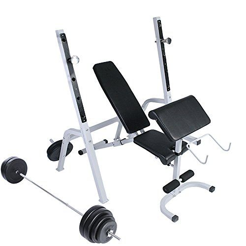 Weight Bench Set Adjustable with Weight Rack and Arm Preacher Pad for Home Gym Exercise