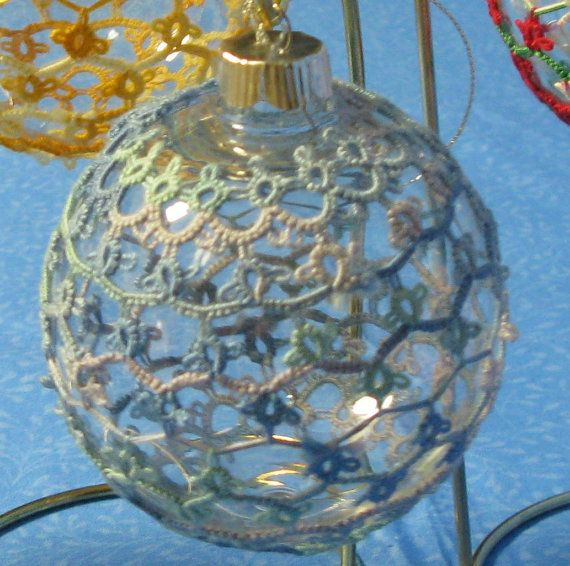Tatted Christmas ball  Varigated Ocean Thread by SeaTurtleGraphics, $18.00