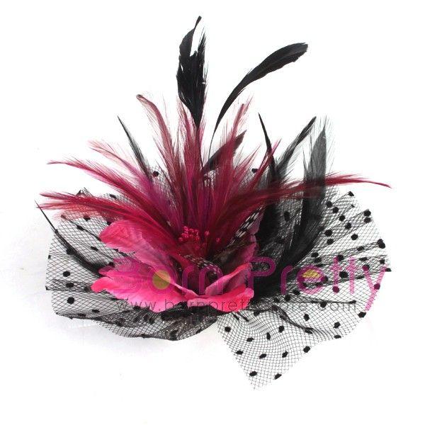 $4.69 Lady Black Dots Fascinator Rhodo Mini Top Hat Cap Hair Clip - BornPrettyStore.com
