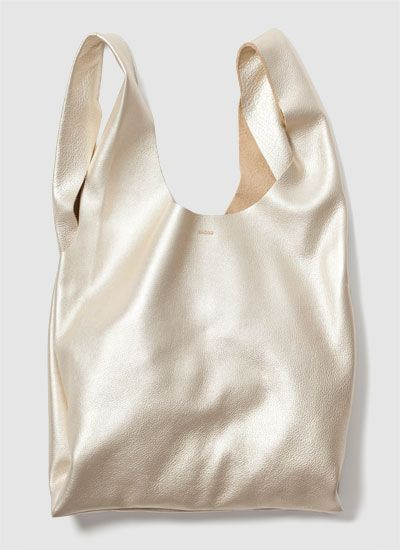 platinum leather bag from baggu. instant lust.