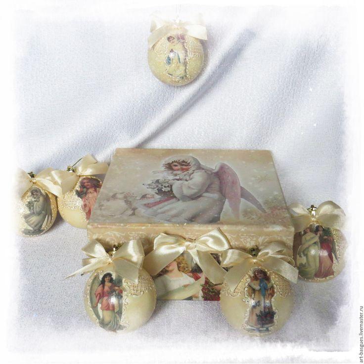 """Купить Набор ёлочных шаров """"Рождественские ангелы"""" - новогодний подарок, Новый Год, новогоднее украшение"""