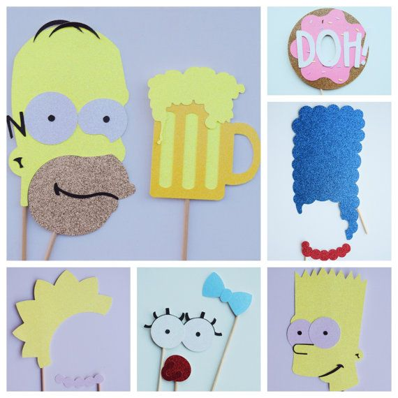 The Simpsons Inspired Photo Booth Props ; The Simpsons Birthday Party ; Donut Party Decor   by Lets Get Decorative
