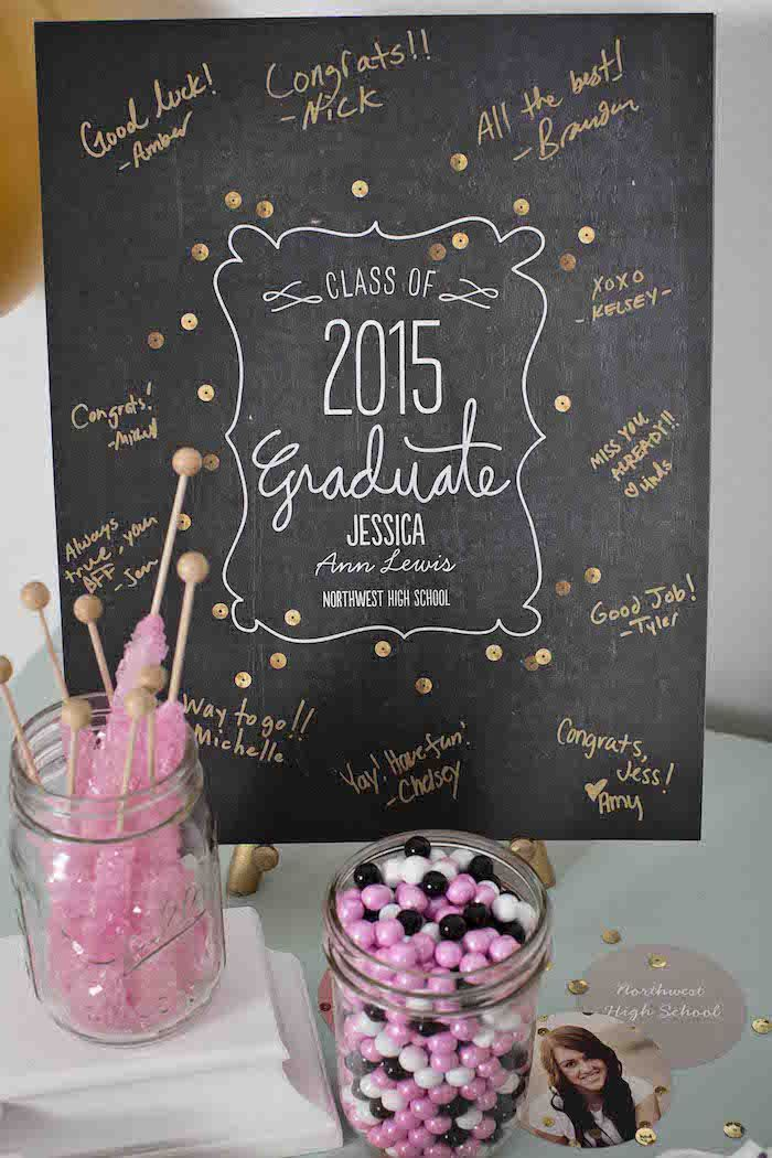 Pink & Gold Graduation Party via Kara's Party Ideas | http://KarasPartyIdeas.com #graduationparty (9)