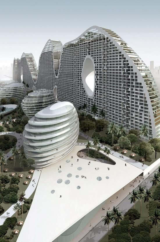 Wow design--can you imagine living in the apts and walking to work in the pods?