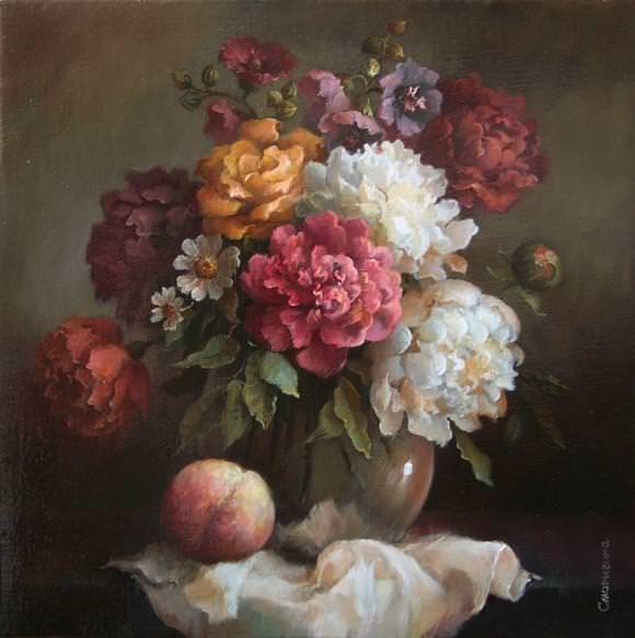 Букет с персиком, автор Сморыгина Анна. Артклуб Gallerix