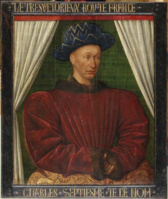 Portrait de Charles VII (1403-1461) peint vers 1445-1450 par Jean Fouquet. Musée du Louvre.- Il se proclame lui-même roi de France depuis Bourges, en 1422 à l'âge de 19 ans, à la mort de son père, en dépit du Traité de Troyes de 1420 qui le déshéritait du royaume de France depuis l'âge de 17 ans, au profit de la dynastie Plantagenêt. Il se fait sacrer roi à Reims le 17 juillet 1429