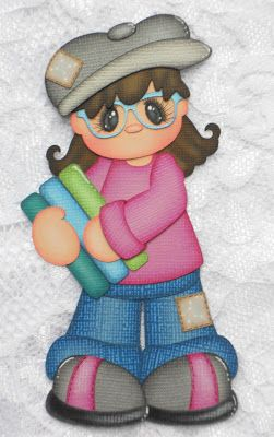 Girl with Books (Scrapbook Paper Piecings)