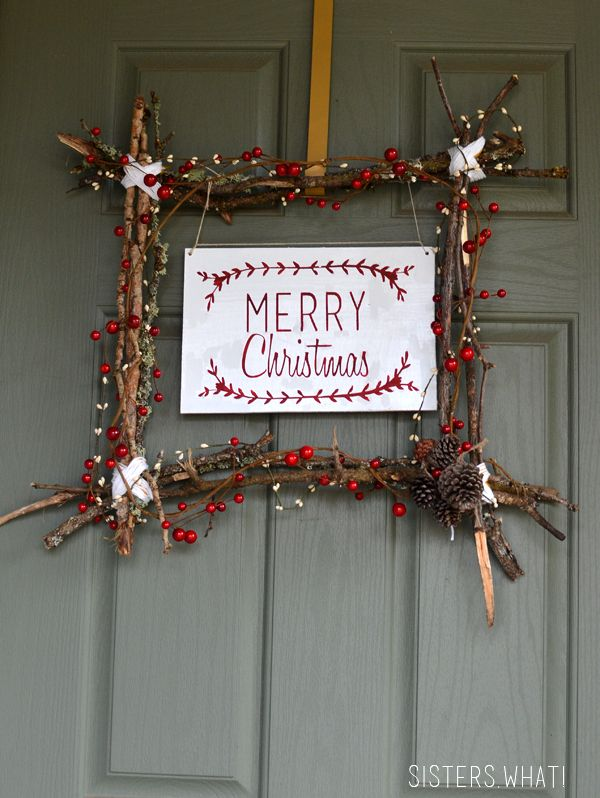 Merry Christmas Wreath and Free Printable I love the rustic, country look of it. The sticks, berries, pine cones and touch of white yarn are just perfect. For the actual sign, I designed it in Photoshop using these awesome free laurel wreaths from Designs By Miss Mandee (and you should TOTALLY check out her blog).