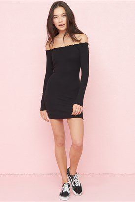 019a9cb89b8 Ribbed Off-Shoulder Dress