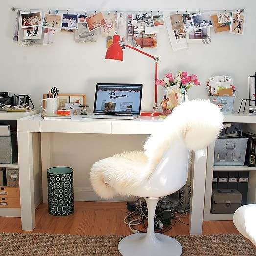 Parsons Desk - White Glossy Lacquer | west elm - Replacing Knockoff from Overstock