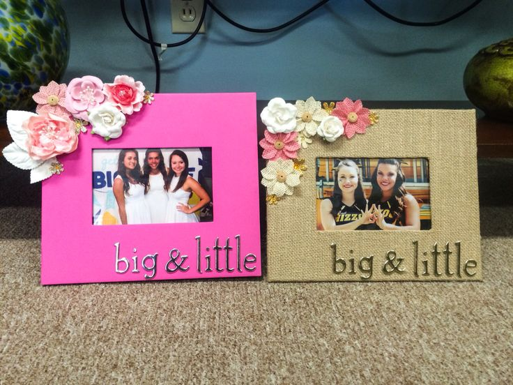 Mom and daught picture frames I made for my littles! | little gift | frames | flowers | sorority | gifts | flowers | pink and gold