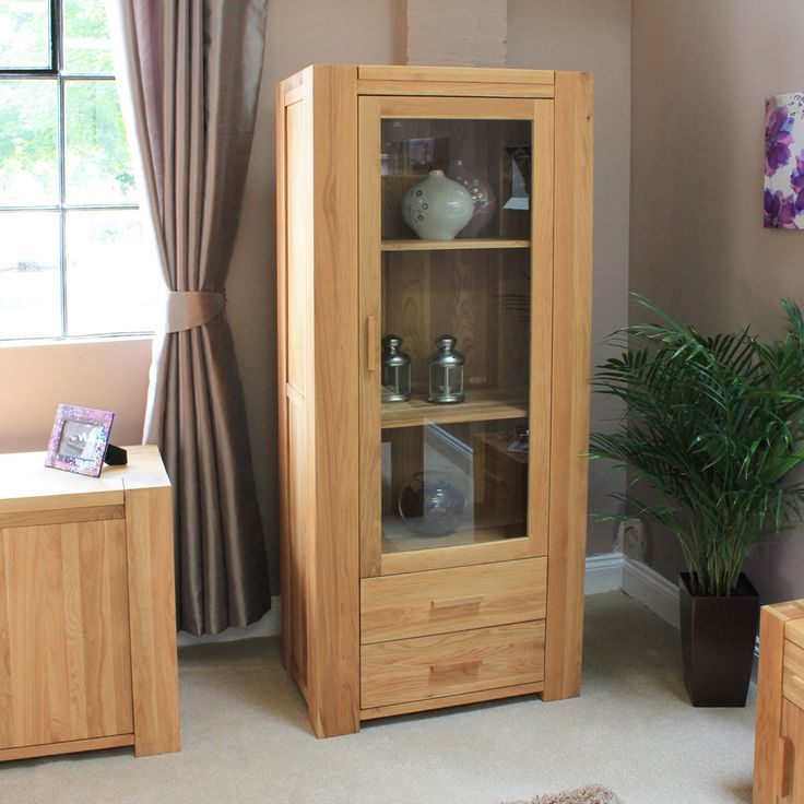 atlas chunky oak hidden home. baumhaus atlas oak single door glazed display cabinet with drawers chunky hidden home