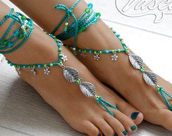 Boho Chic Barefoot Sandals by AmericanArtandSoul on Etsy