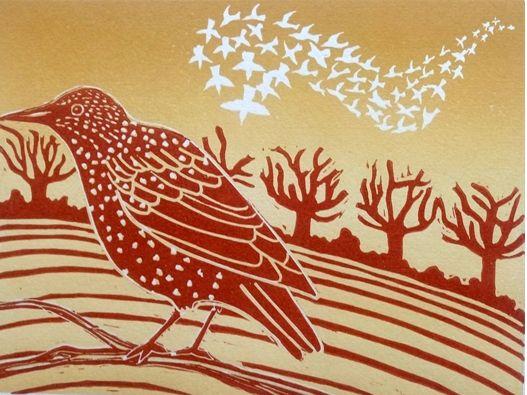 Murmuration, lino print, (33x38cm) by Helen Rowlands. Cardigan Art Society Named Art Club of the Year 2017