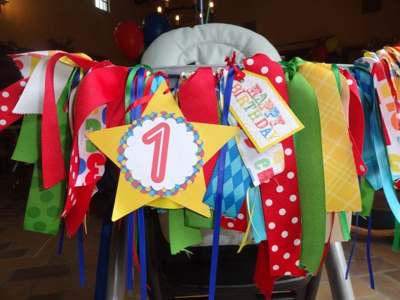 Primary Color ribbon high chair banner by apetitesoiree on Etsy, $25.00