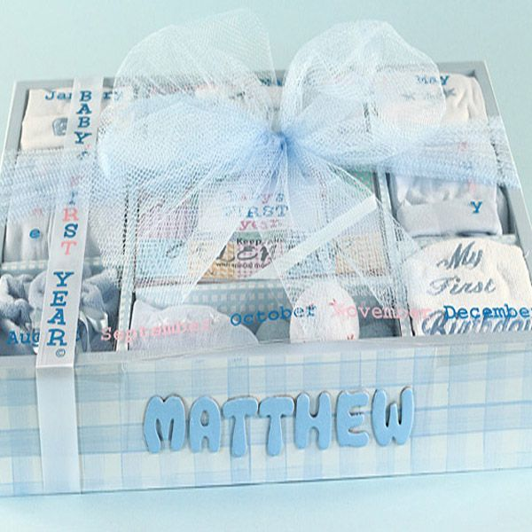 142 best baby cakes gift sets images on pinterest baby babys first year personalized gift set negle Images