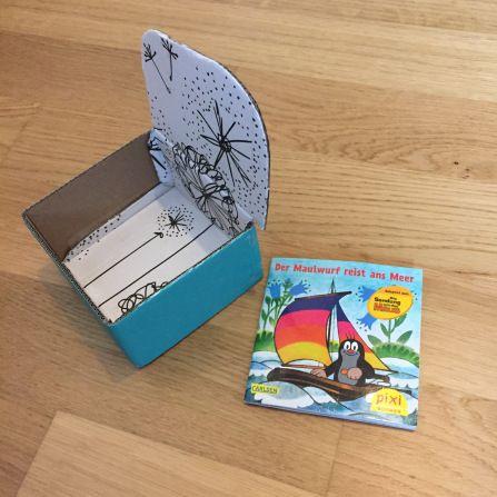Pixi Buch Box Regal Bastelanleitung basteln
