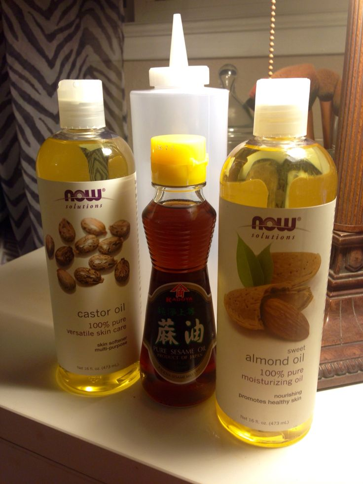 Almond oil, Castor oil, and sesame oil! Mix together in a squeezy bottle & massage into hair. Leave for anywhere from 2 hours or all night. Wash out with shampoo & conditioner in the shower. Great for hair growth & hair loss!